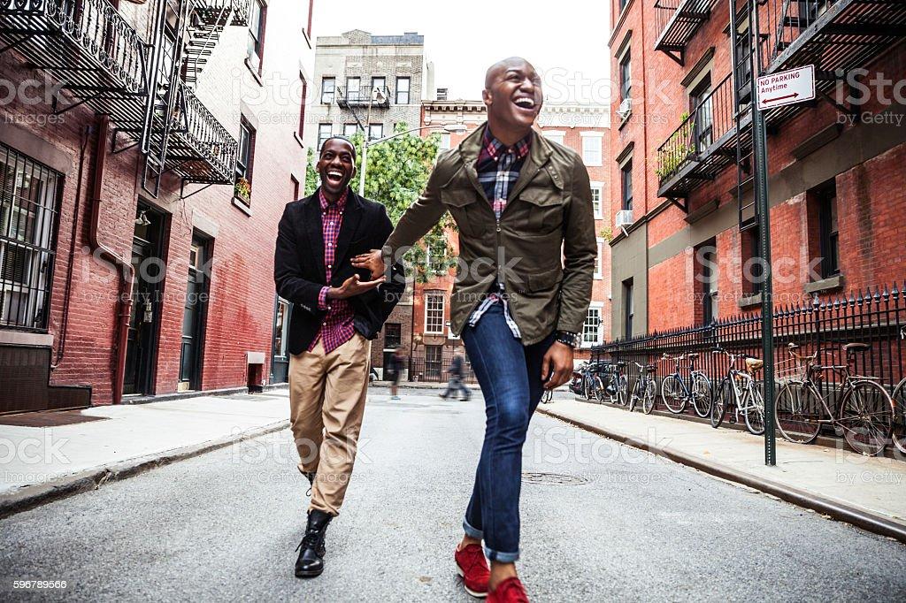 Men couple having fun in New York stock photo