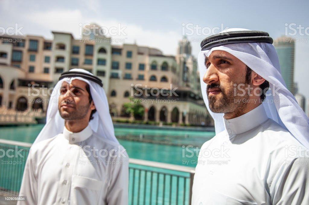 Men doing business in United Arab Emirates stock photo