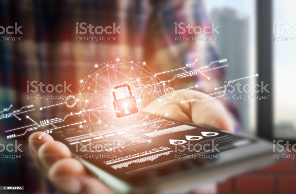 Men dress up lifestyle hold smartphone screen shows the key in the Security online world. the display and technology advances in communications. The concept of advancement in living in the future. - foto stock