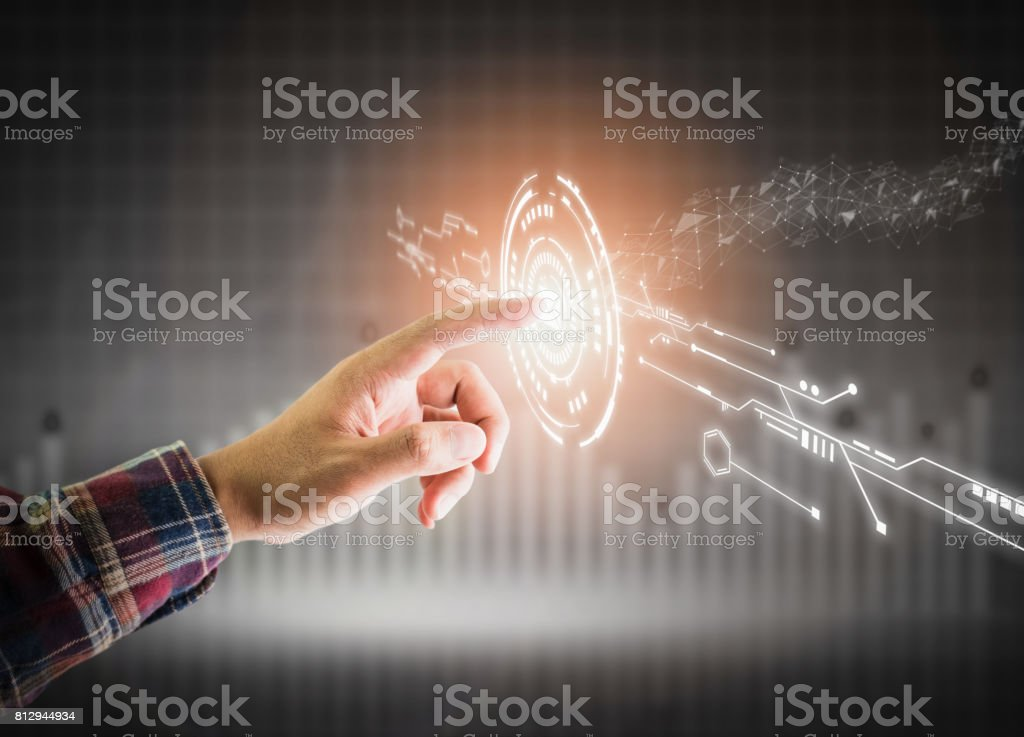 Men dress up lifestyle push email symbol button. the display and technology advances in communications. The concept of advancement in living in the future. stock photo