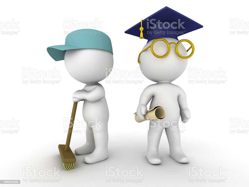 3D Men dressed as janitor and as graduate stock photo