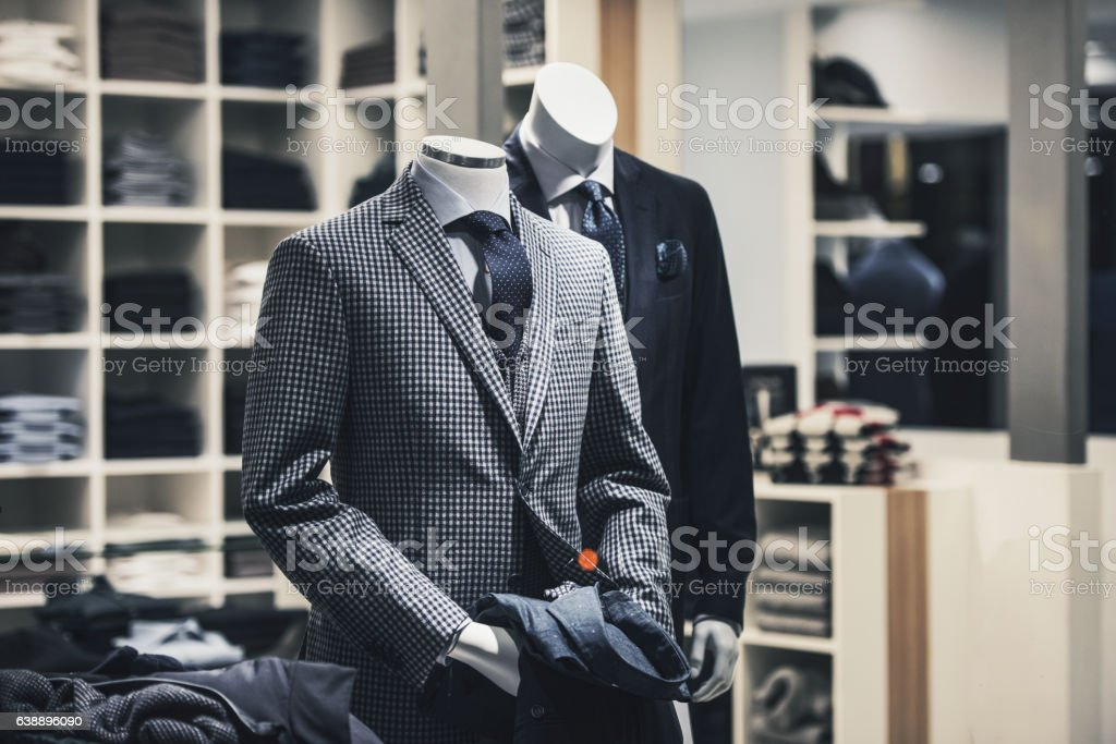 Men elegant clothing showcase stock photo