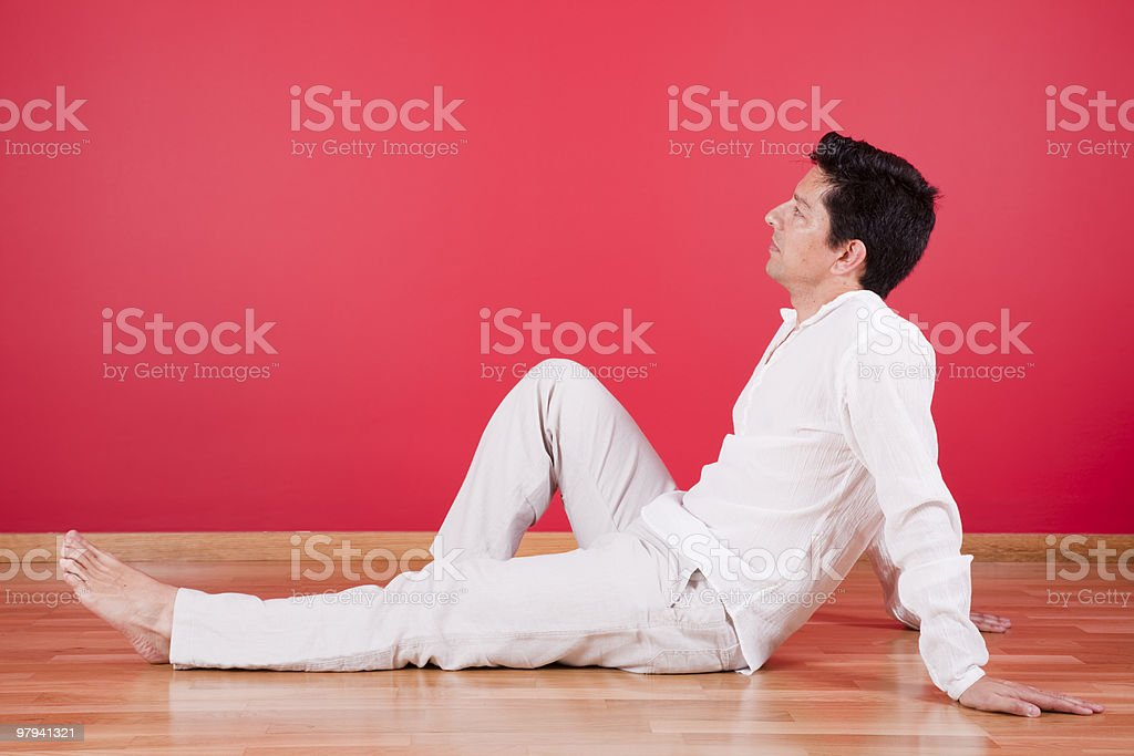 men enjoying the new house royalty-free stock photo