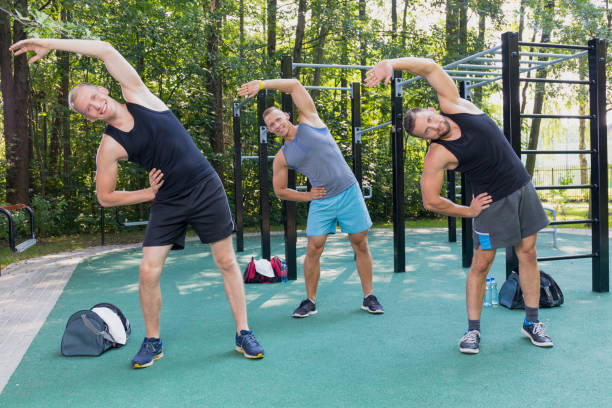 Men exercising outdoor stock photo