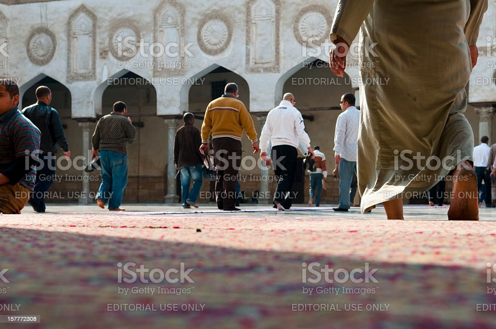 Men in a mosque stock photo