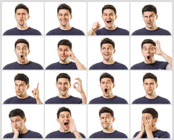 남자 표정 세트 - 얼굴 표현 뉴스 사진 이미지