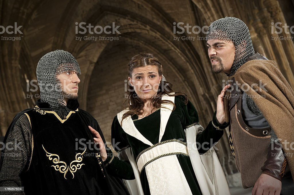 Men facing up for the love of a woman royalty-free stock photo