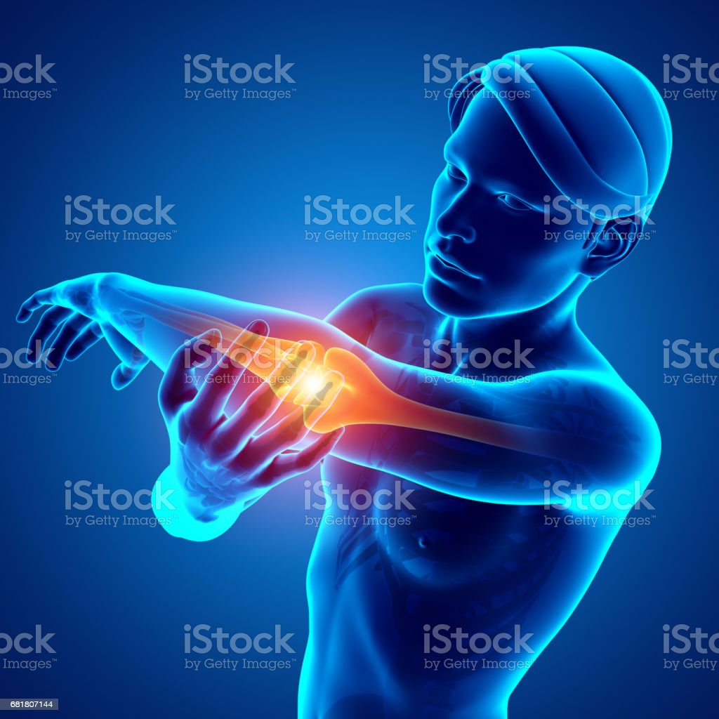 Men Feeling Elbow pain stock photo