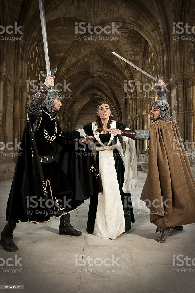 Men fighting for the love of a woman royalty-free stock photo
