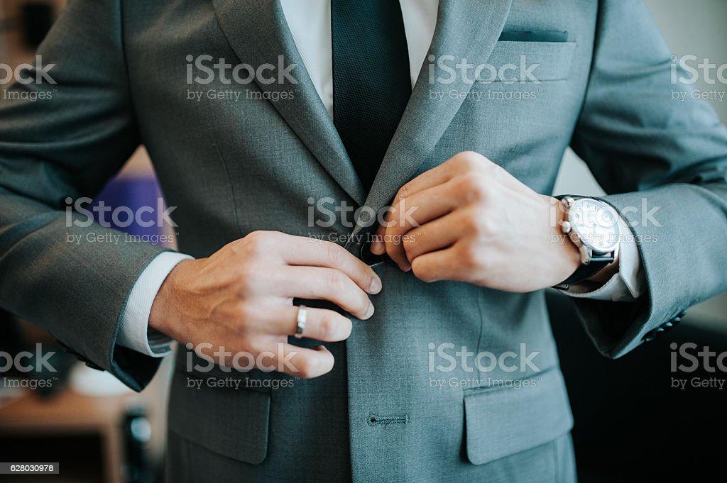 men getting ready stock photo