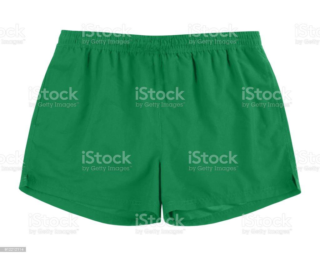Men green swim sport beach shorts trunks isolated on white stock photo