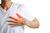 istock Men had chest pain caused by heart disease, heart attack, leaky heart disease, coronary artery disease during exercise.White background 1281392635