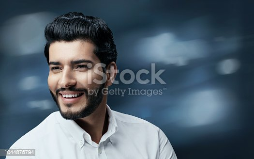 istock Men Hair Beauty. Handsome Man Model With Black Hair And Beard 1044875794