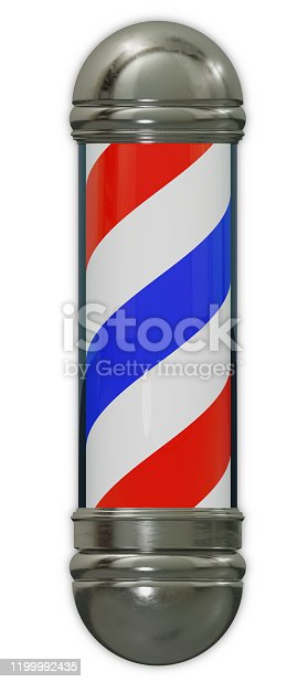 istock men haircut barbershop blue and red spiral pole classic advertising 3D illustration 1199992435