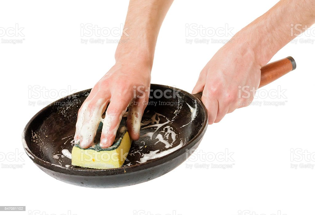 Men hand wash with a sponge pan stock photo
