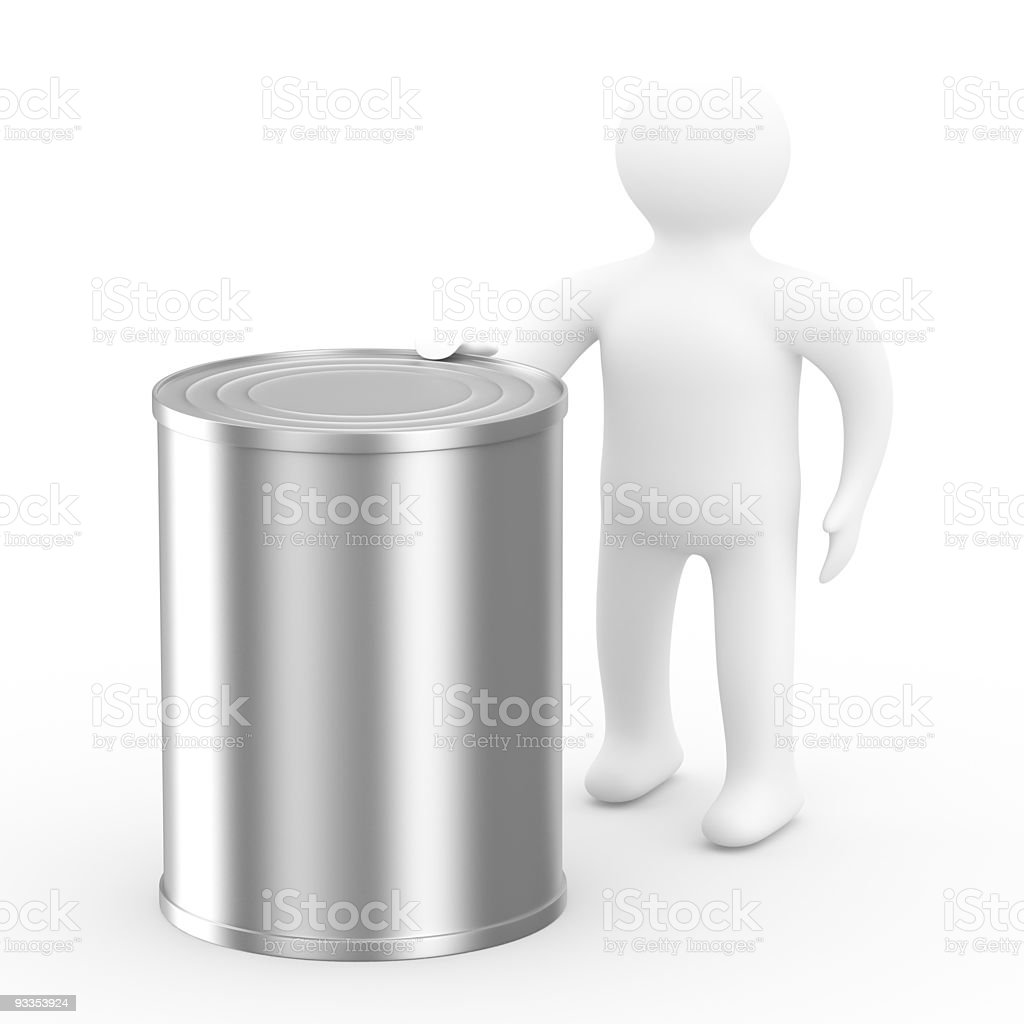 men hold can on white background. Isolated 3D image royalty-free stock photo