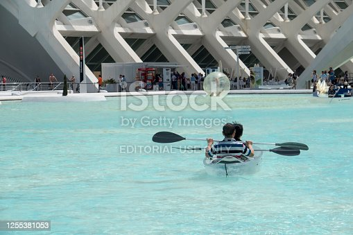 Valencia,Spain, April,6,2015: men in a kayak on water