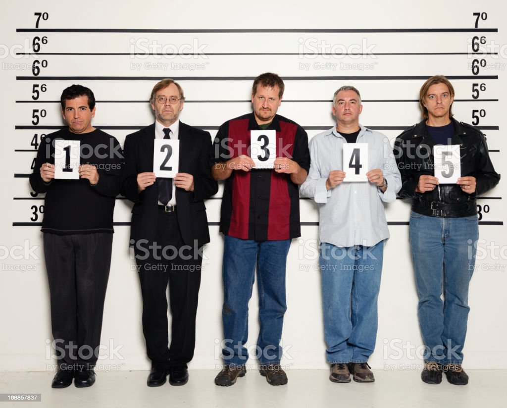 Men in a Police Lineup stock photo