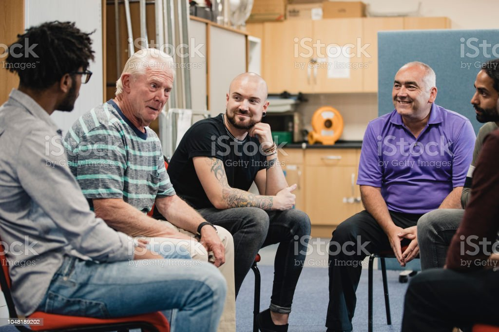 Men in a Support Group stock photo