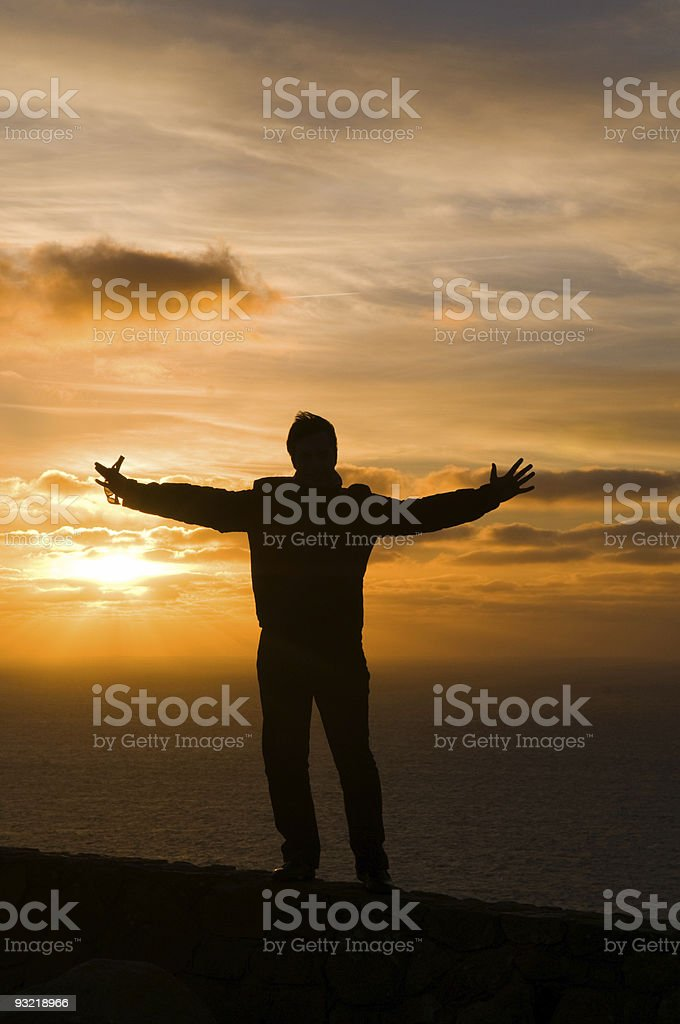 Men, in cape of Roca royalty-free stock photo