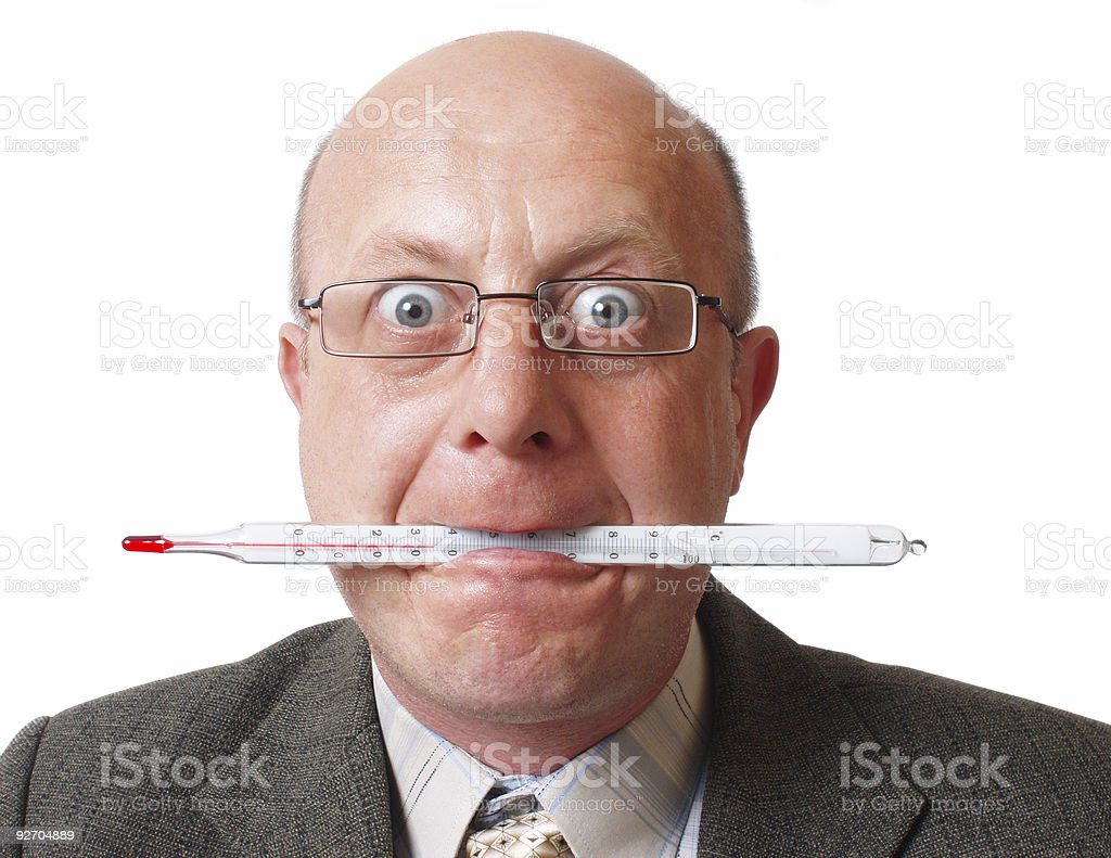 men in glasses with thermometer royalty-free stock photo