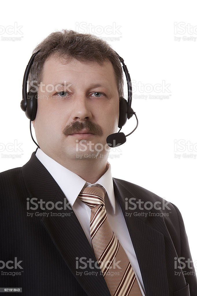 men in headphones on a white background royalty-free stock photo