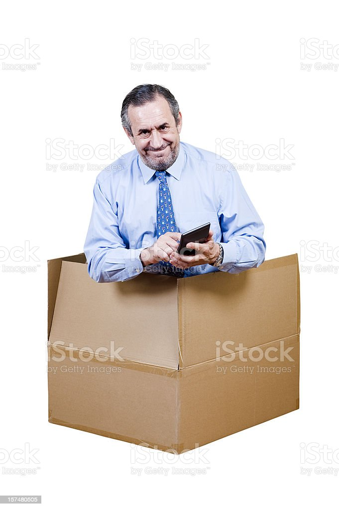 Men in the box royalty-free stock photo
