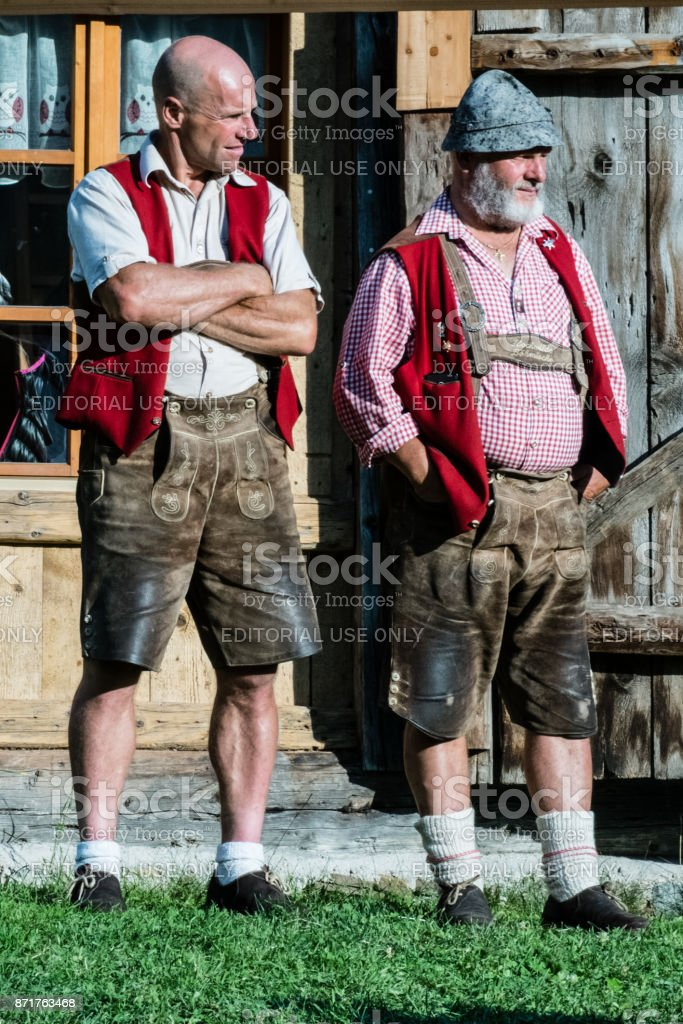 Men in traditional Ladino suit at Festa Ta Mont stock photo