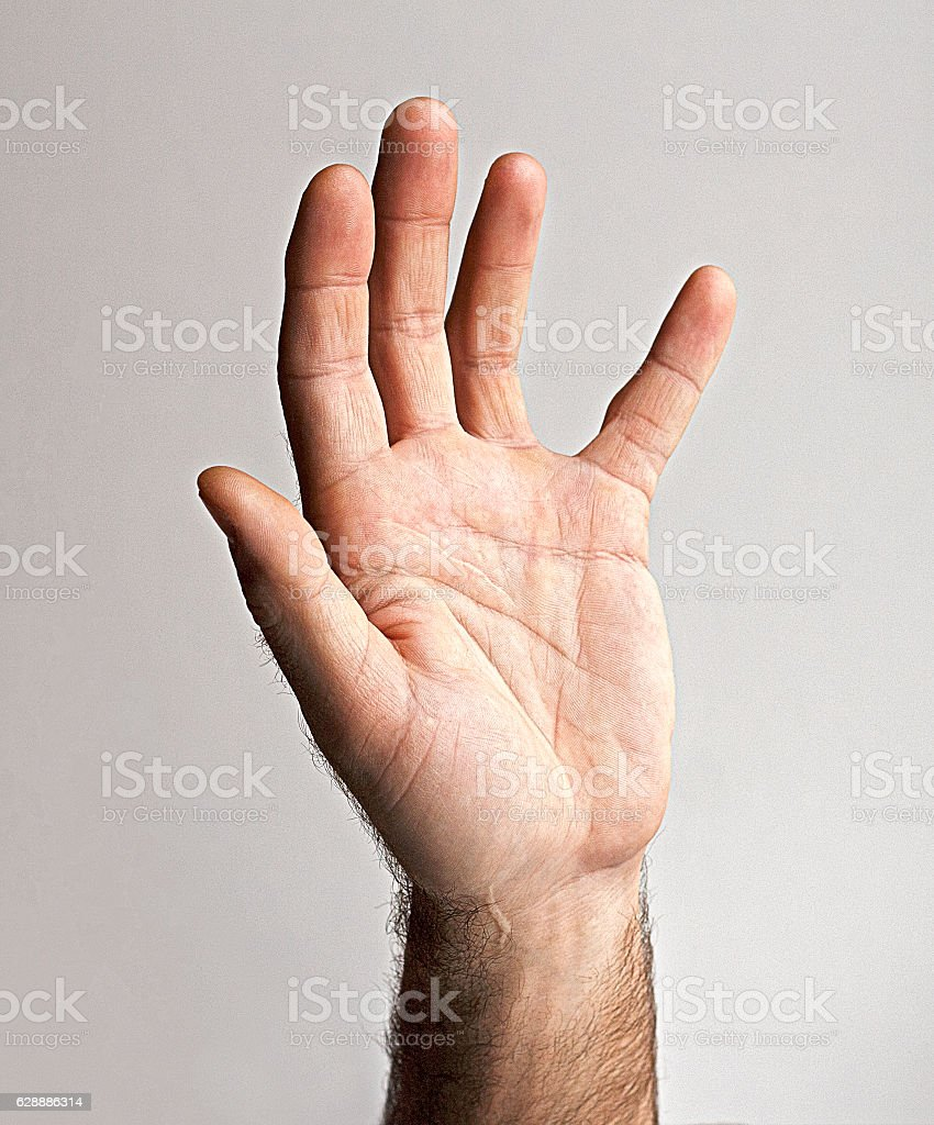Men left hand stock photo