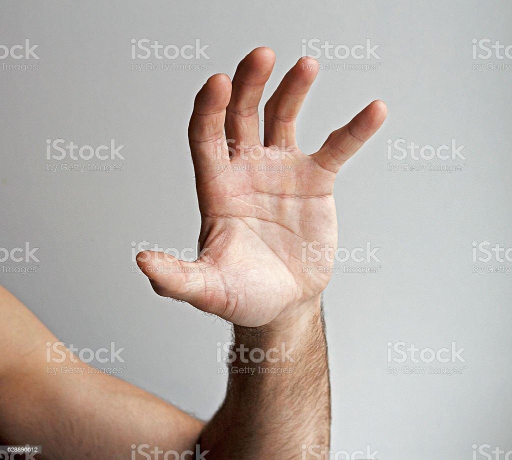 Men left hand stock photo