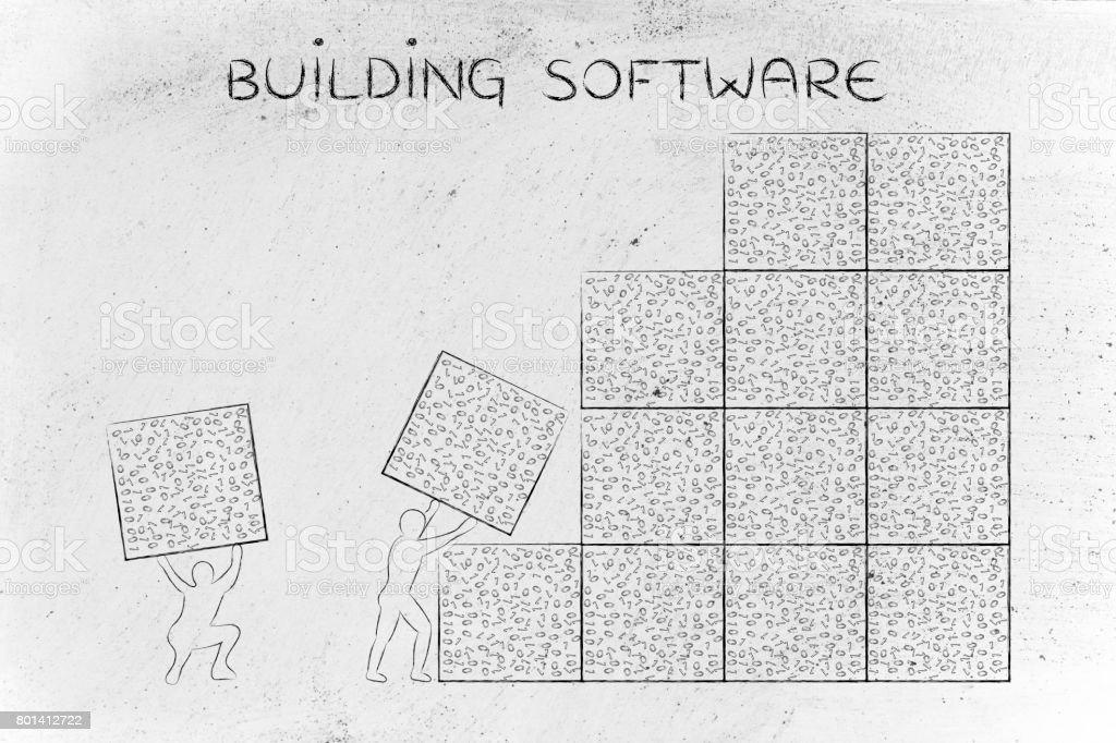 men lifting blocks of messy binary code, buiding software stock photo