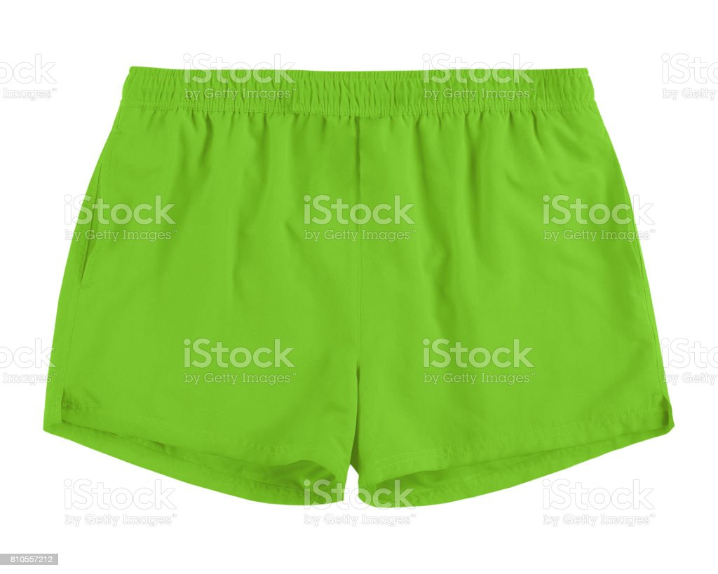 Men light green swim sport beach shorts trunks isolated on white stock photo
