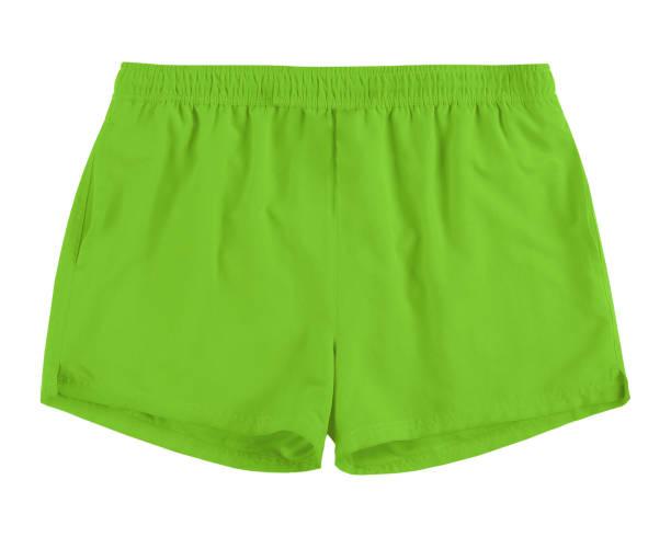 Men light green swim sport beach shorts trunks isolated on white stock photo