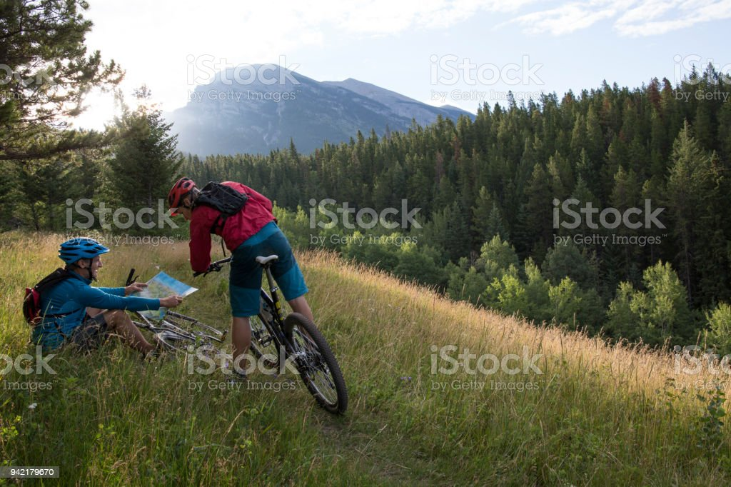 Men mountain biking pause to look at map in meadow stock photo