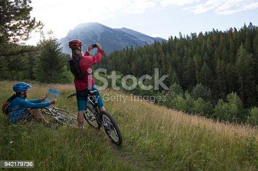 istock Men mountain biking pause to take photo in meadow 942179736