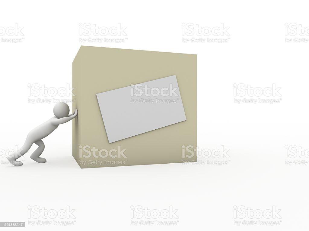 men moving the box stock photo