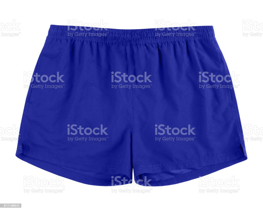 Men navy blue swim sport beach shorts trunks isolated on white stock photo