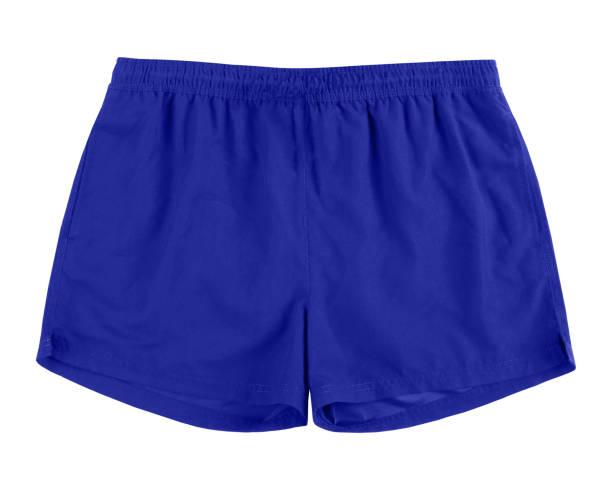 Men navy blue swim sport beach shorts trunks isolated on white stock photo