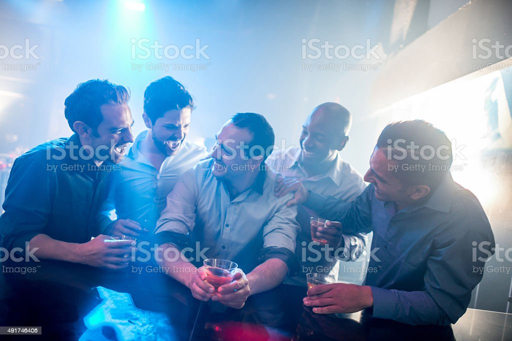 Men night out stock photo