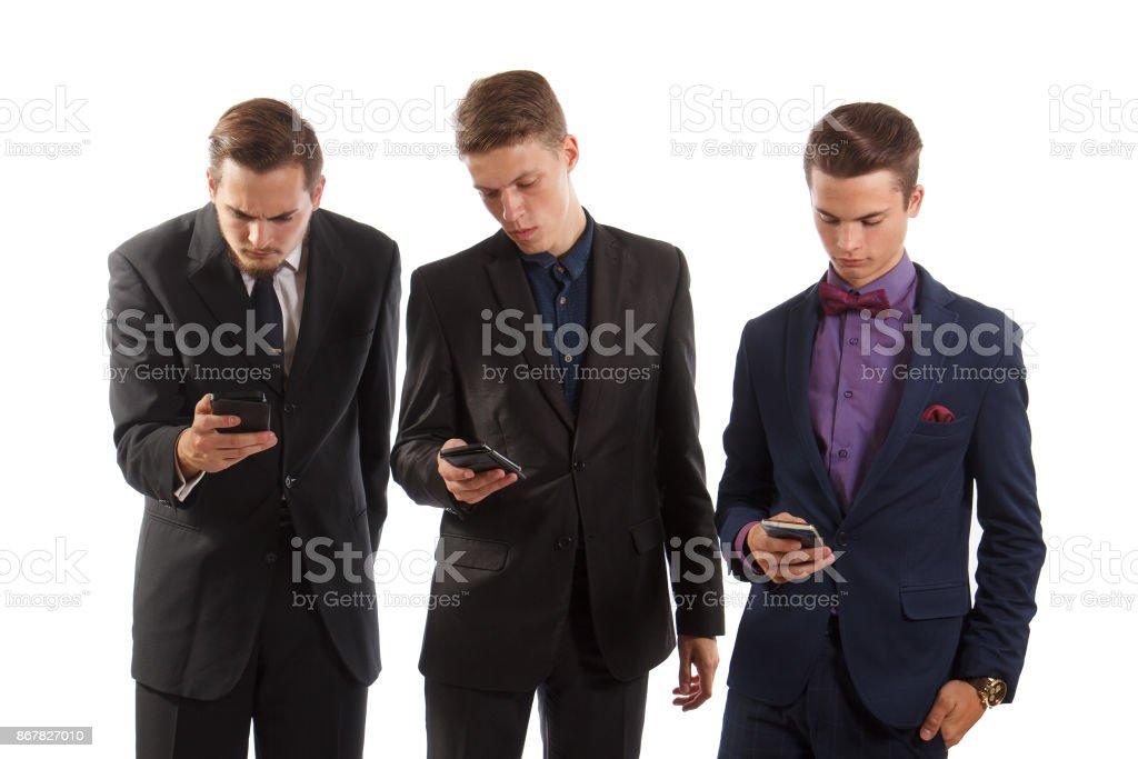 Men on phones stock photo