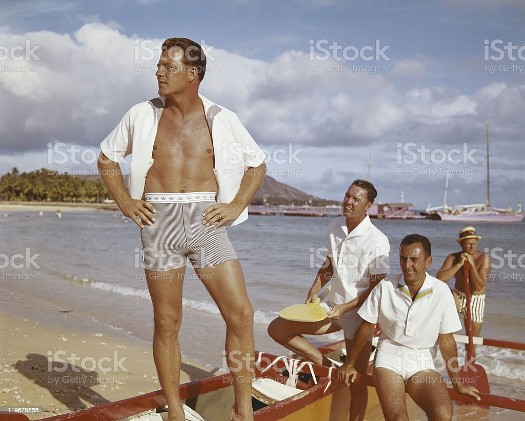 Men on vacation near beach side  stock photo