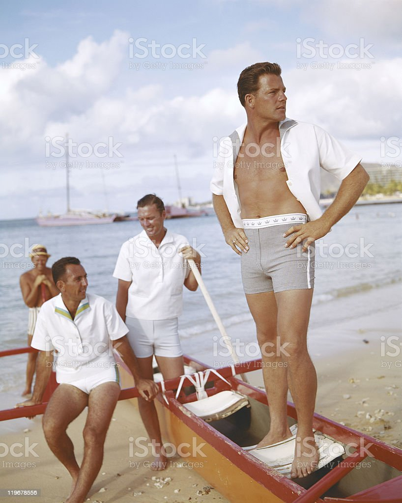 Men on vacation near beach side  stock photo