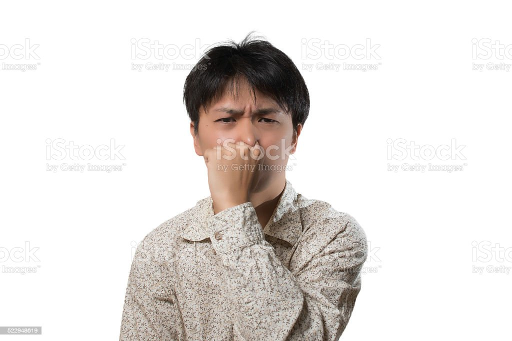 Men pinch the nose stock photo