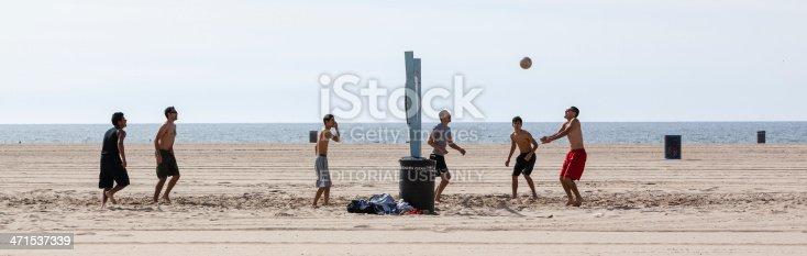 Los Angeles, USA - February 1, 2013: Men play volleyball on Venice Beach