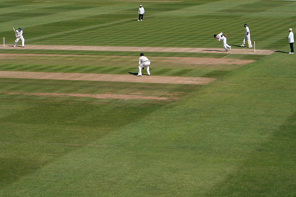 Men playing a cricket match in an open field stock photo