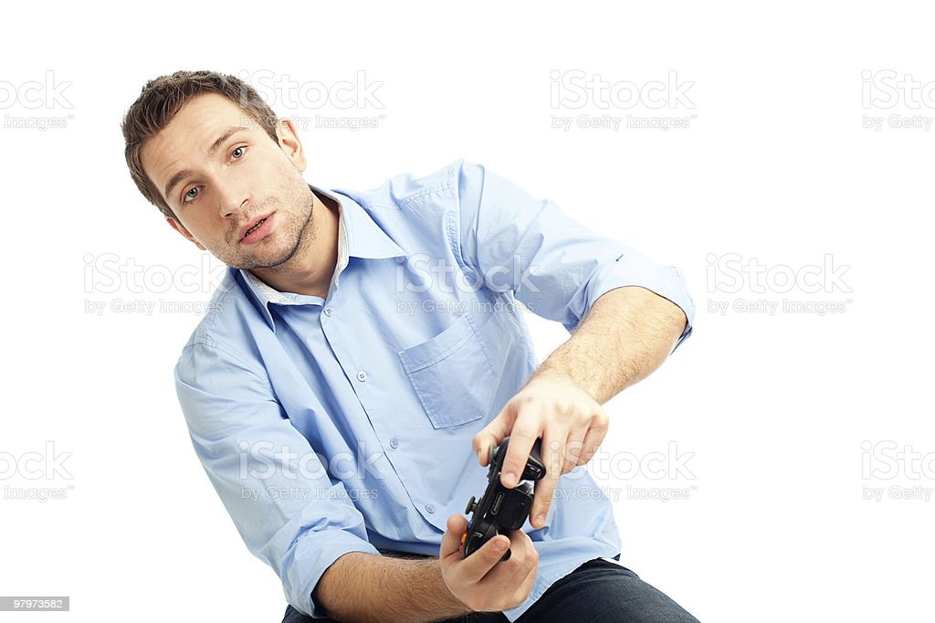 Men playing video games royalty-free stock photo