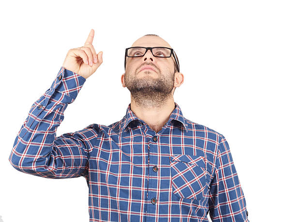 Men pointing with finger up looking Men pointing with finger up looking up isolated on white background aha stock pictures, royalty-free photos & images