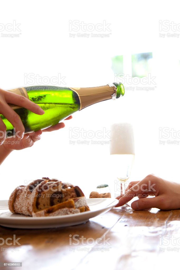 Men poured champagne in hand royalty-free stock photo
