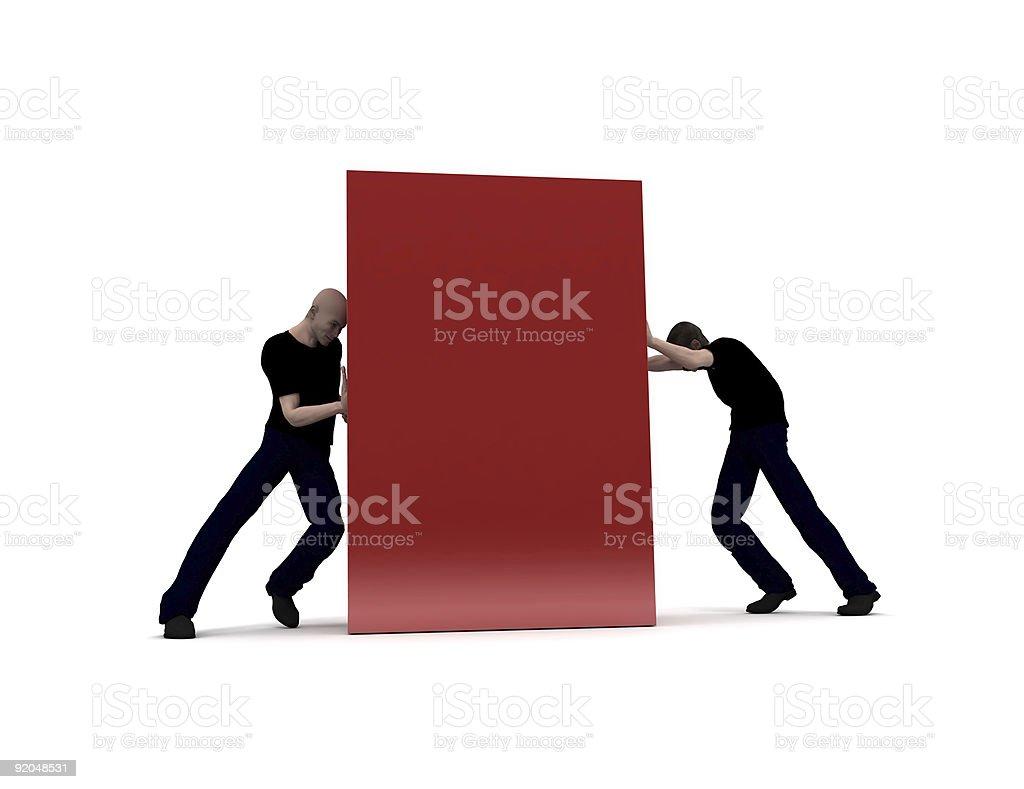 Men pushing a red block royalty-free stock photo