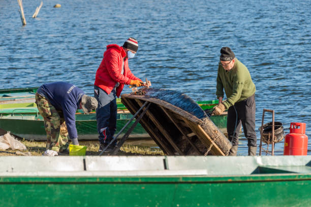 Men repairing a boat on the Danube river in the morning. Fishermen are tidying up and repairing their boat stock photo